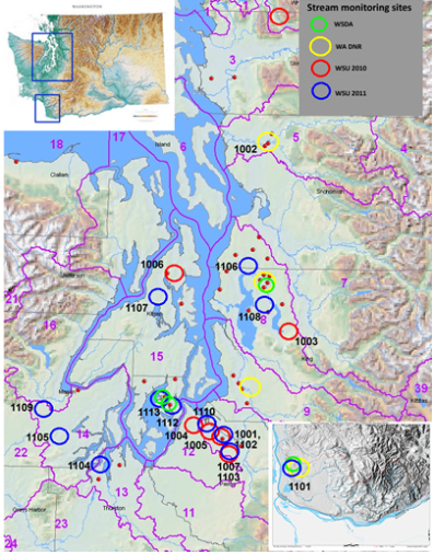 Locations of stream monitoring sites in western WA