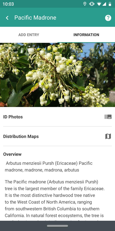 Screenshot of TreeSnap Smartphone Application