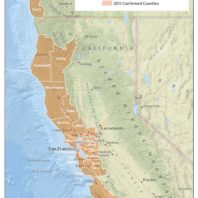 SOD Confirmed Counties in California Map