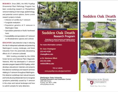 WSU Sudden Oak Death Research Program Brochure