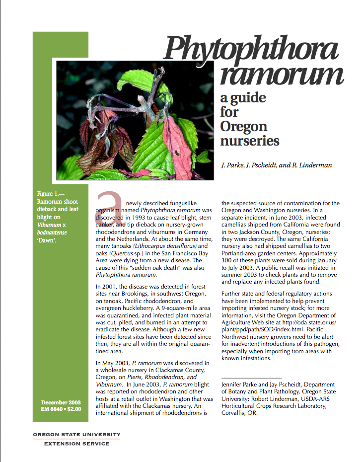 Phytophthora ramorum guide for Oregon Nurseries Cover
