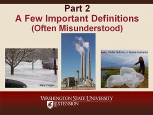 Climate Change Science Slideshow Part 2 - A Few Important Definitions (Often Misunderstood)