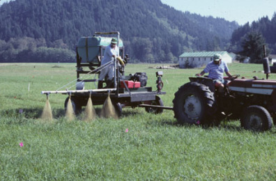 Supercow Liquid Manure Applicator spraying forage research plots with manure.