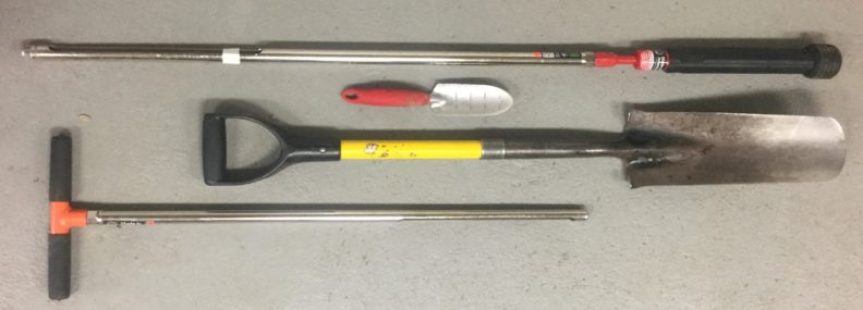 Photo of various equipment and soil probes used for sampling soils.