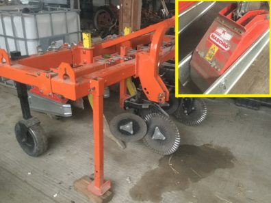 Photo of custom strip tiller unit. Front discs cut cover crop, back unit (see insert photo) is a one blade wide Maschio rototiller that cuts a narrow path for planting crops in while leaving the rest of the soil undisturbed.