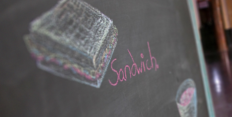 Chalk drawing of a sandwich.