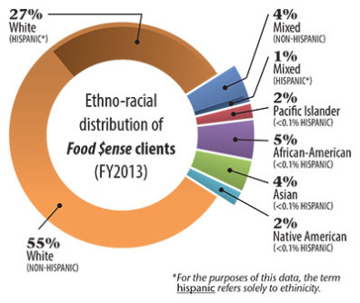 Ethno-racial distribution of Food $ense clients (FY 2013)