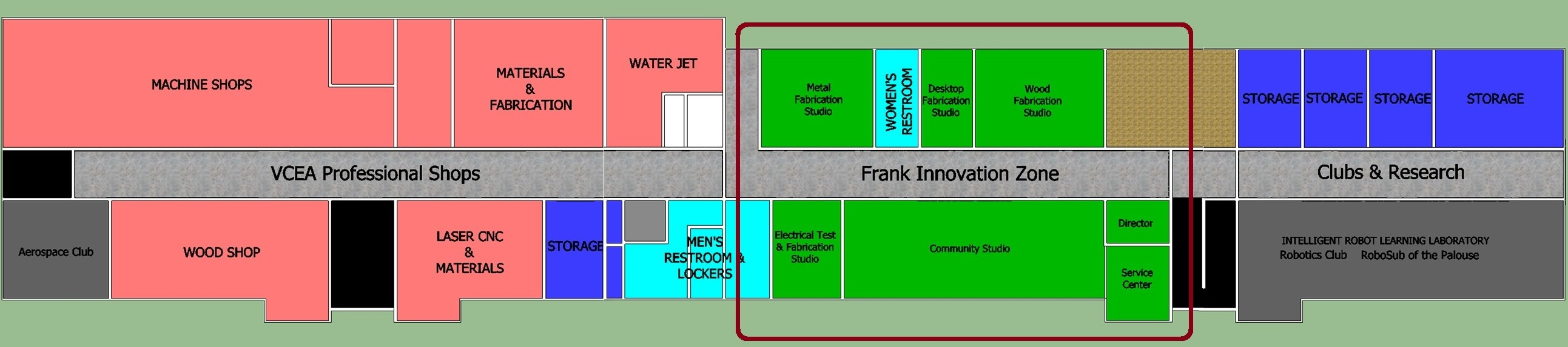 Partial floor plan of Dana Hall basement highlighting area dedicated to the Frank Innovation Zone.