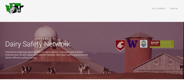 Screenshot of Dairy Safety Network webpage header