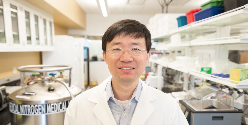 Pharmaceutical sciences researcher Jason Wu in his lab