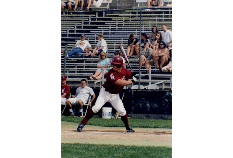 Gleason playing baseball