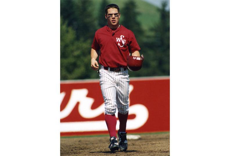 Gleason playing baseball