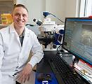 Neuroscientist Willie Vanderheyden uses fluorescent microscopy to identify sleep promoting cells in the dorsal part of a rat brain.