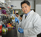 Zhenjia Wang is shown handling a tube of nanoparticles in his lab.