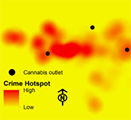 Graphic representation of crime hotspots and cannabis outlets