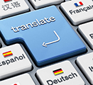 "Illustration of keyboard with ""Translate"" button surrounded by buttons with different languages/flags"