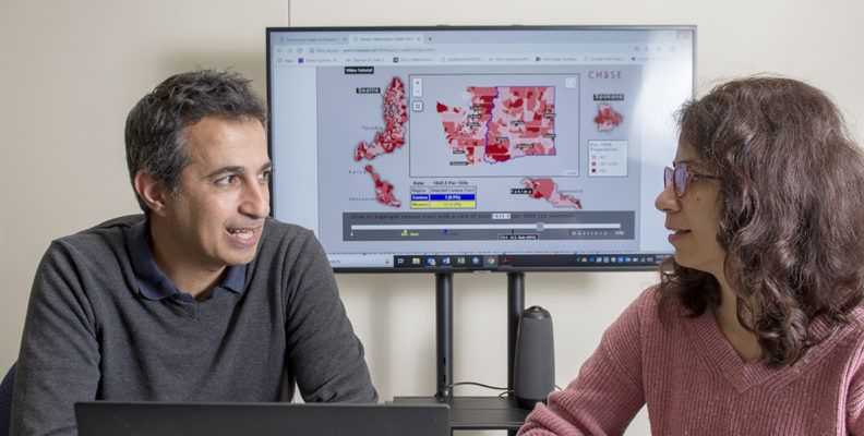 Researchers Ofer Amram and Solmaz Amiri conduct research related to spatial epidemiology.
