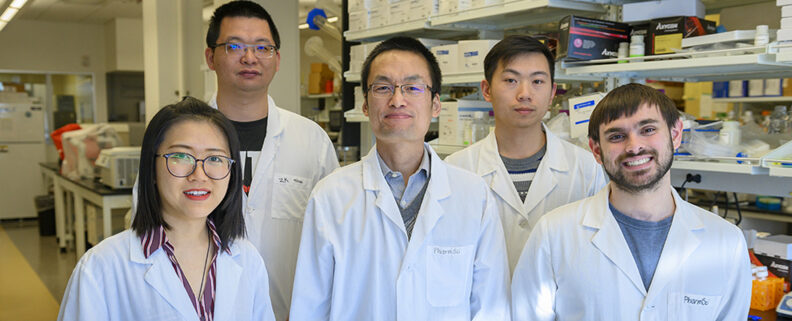 The Cheng lab group in their lab on the WSU Health Sciences Spokane campus