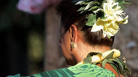Image of Pacific Islander woman in traditional dress