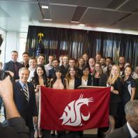 Jay Inslee at WSU Spokane with students