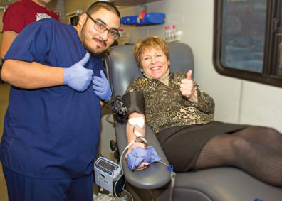 Lisa donating blood