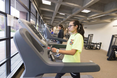 Student in Fitness Center