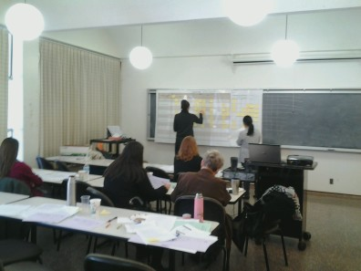 AMDT faculty constructing a curriculum map, aligning program learning outcomes with core courses
