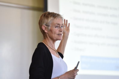 Pat Hutchings speaking at May 2016 Assignment Design Workshop
