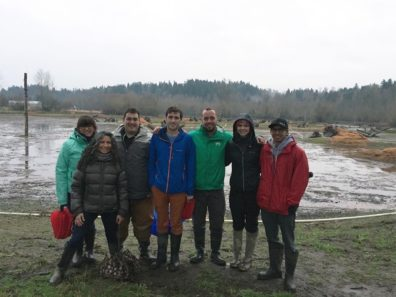 Landscape Architecture students and faculty at Upper Clear Creek mitigation site.