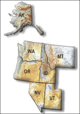 Map including Alaska, Washington, Oregon, Idaho, Montana, Nevada, and Utah.