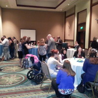 A group of our 2015 ACJS attendees gathers over refreshments.