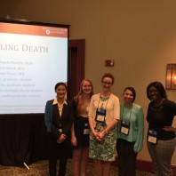 PhD students pose with Dr. Melanie Neuilly.