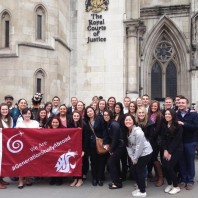 WSU and UI students, Dr. Neuilly, Sisouvanh Keopanapay, and Dr. Wolf (along with UI mascot Joe Vandal), pose outside the Royal Courts of Justice after the visit.