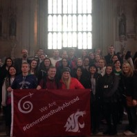 WSU and UI students, Dr. Neuilly, Sisouvanh Keopanapay, and Dr. Wolf (along with UI mascot Joe Vandal) pose in the great hall of the Houses of Parliament after the visit of both the House of Lords and the House of Commons. March 21, 2015.