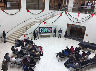 CHANGE unveiling in the Terrell Library Atrium drew students and faculty from across campus.