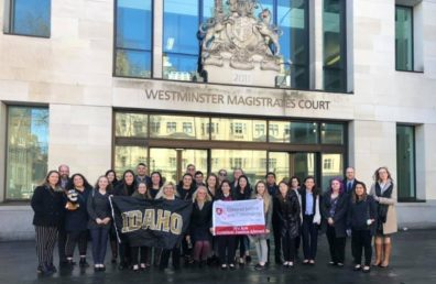 Joint Washington State University and University of Idaho Criminal Justice and Criminology Study Abroad program students pose alongside professors Melanie-Angela Neuilly, Brian Wolf, and Joseph DeAngelis in front of the Westminster Magistrates' Court after a program visit.