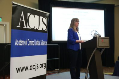 ACJS President Dr. Faith Lutze, giving her presidential address at the ACJS meeting.