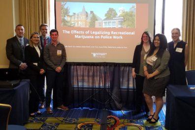 Students Jordan Sykes, Izzy Luengas, Mantz Wyrick, Griffin Patrick, Jessica Pletsch, Kaylee Philips, and Kaitlyn Van Vleet at ACJS.