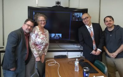 Drs. Craig Hemmens and Mary Stohr, with Dr. (now) Youngki Woo and Dr. Dale Willits, with Dr. Staci Hoff (on AMS video) before Woo's final defense.