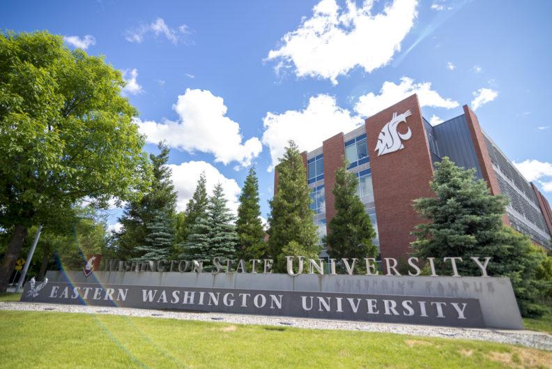 WSU monument sign, nursing building