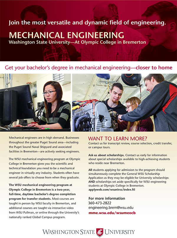 image of the information sheet for the Mechanical Engineering program at Olympic College, Bremerton.