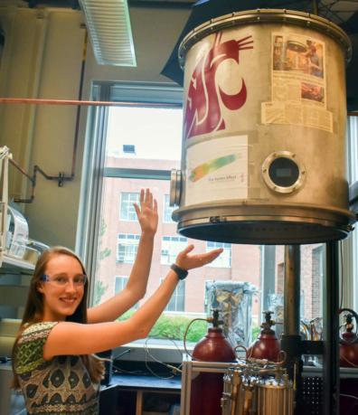 Jordan Raymond, Donna Jung Scholarship Award winner, posing in a lab at WSU.