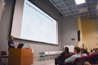 Jason Tripard, Senior Director of Engineering at Microsoft, speaks at the Fall 2019 Mentoring Event on preparing for an engineering career and what Microsoft looks for in interns and employees