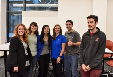 Micron's Joanna Shaw with students from the Cougs in Space Club