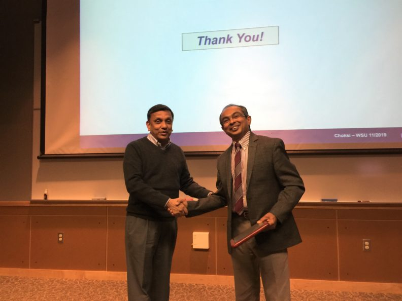Gaurang Choksi welcomed by Indranath Dutta, Director of WSU's School of Mechanical and Materials Engineering