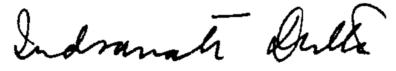 Indranath Dutta Signature