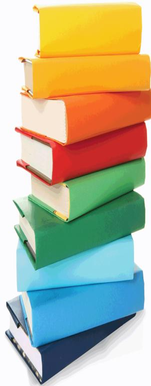 stack of colorful books