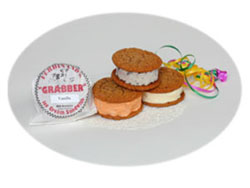 "Ferdinand's Ice Cream Shoppe offers ""Grabbers"" - Our version of the ice cream sandwich."