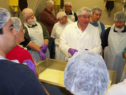 Instruction being provided at the WSU Creamery's annual Cheesemaking Shortcourse.