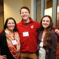 April Seehafer, Garrett Kalt, and Heidi Stallman pose together for the camera at the freshman scholars progression 2018 event